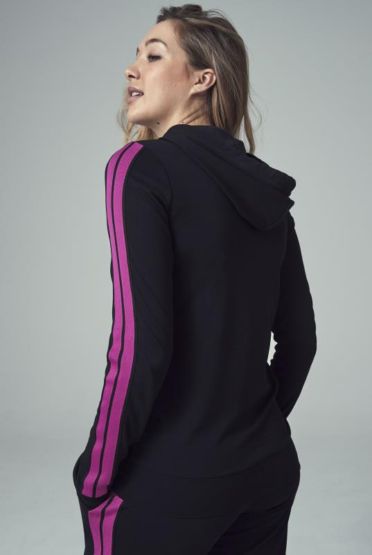 Black and Pink Side Stripe Zip Through Hoodie