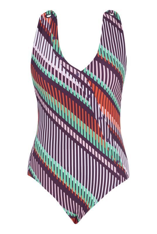 Stripe Print Button Swimsuit