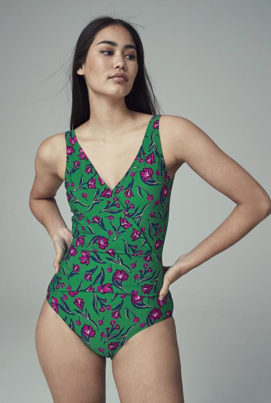 Green and Pink Floral Print Swimsuit