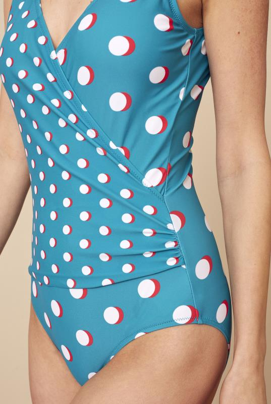 Blue Spotted Print Swimsuit