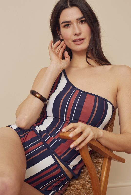 Stripe One Shoulder Tankini