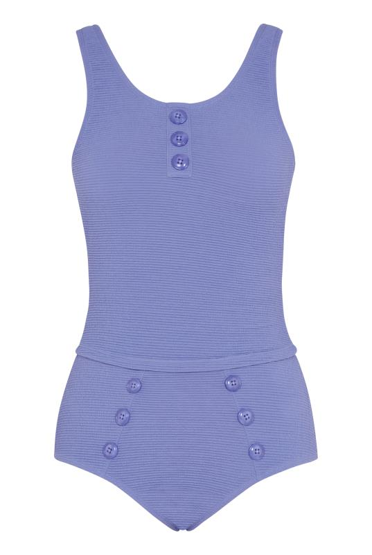 Purple Textured Button Detail Tankini