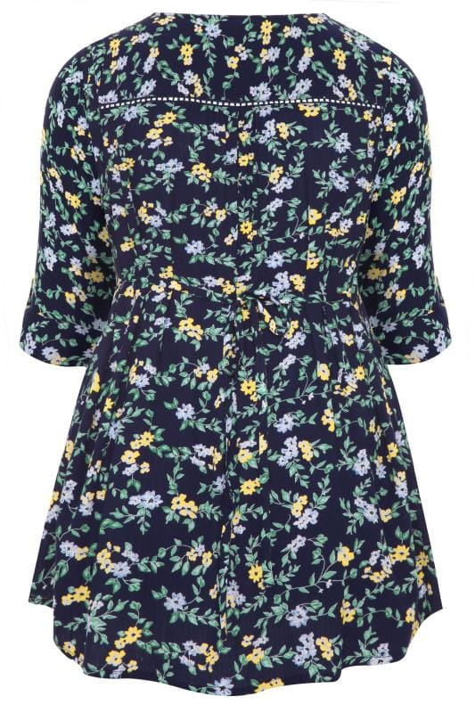 Navy Floral Print Pintuck Top