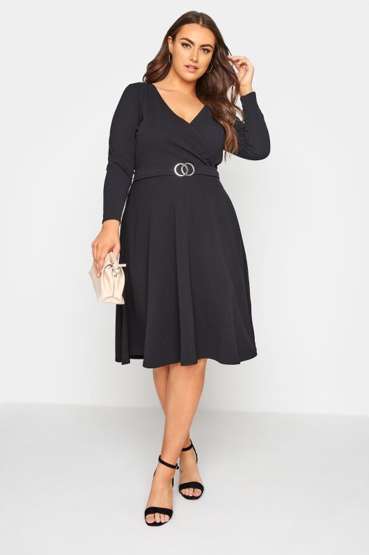 YOURS LONDON Black Wrap Midi Dress_A.jpg