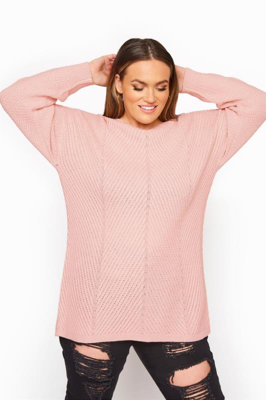 Plus Size  Pink Oversized Knitted Jumper