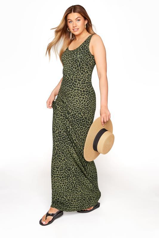 Tall  LTS Green Leopard Print Maxi Dress