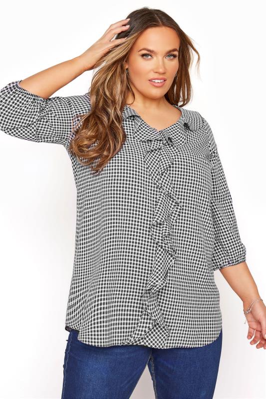 Plus Size  YOURS LONDON Navy Gingham Frill Front Blouse
