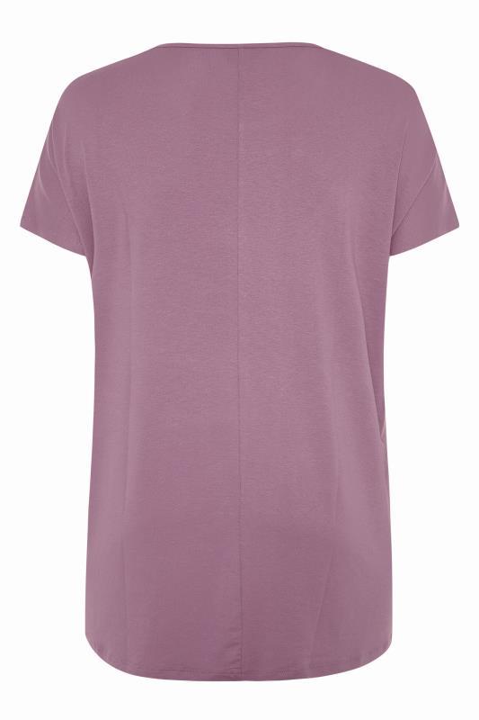 Mauve Dipped Hem Short Sleeved T-Shirt_BK.jpg