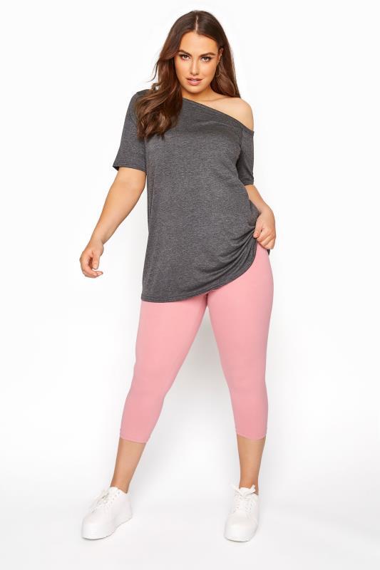 Plus Size  Pink Cropped Leggings