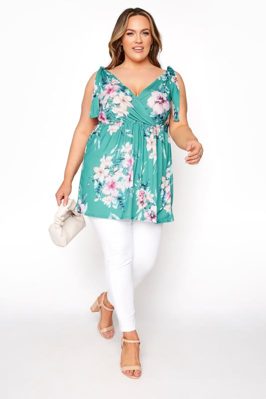 YOURS LONDON Green Floral Wrap Bow Top_B.jpg