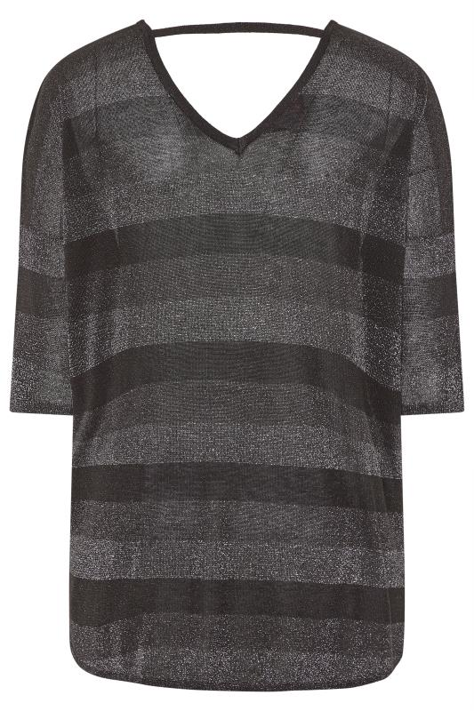Black Stripe Metallic Longline Knitted Top
