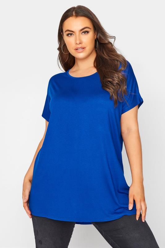 Plus Size  Cobalt Blue Dipped Hem T-Shirt