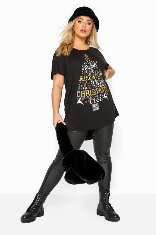 Black Christmas Tree Slogan Print T-Shirt