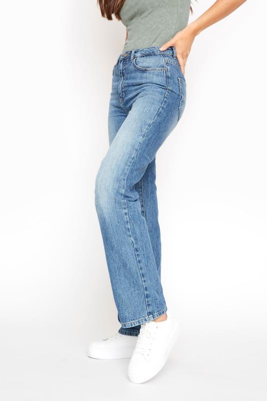 Blue Vintage Washed Wide Leg Jeans