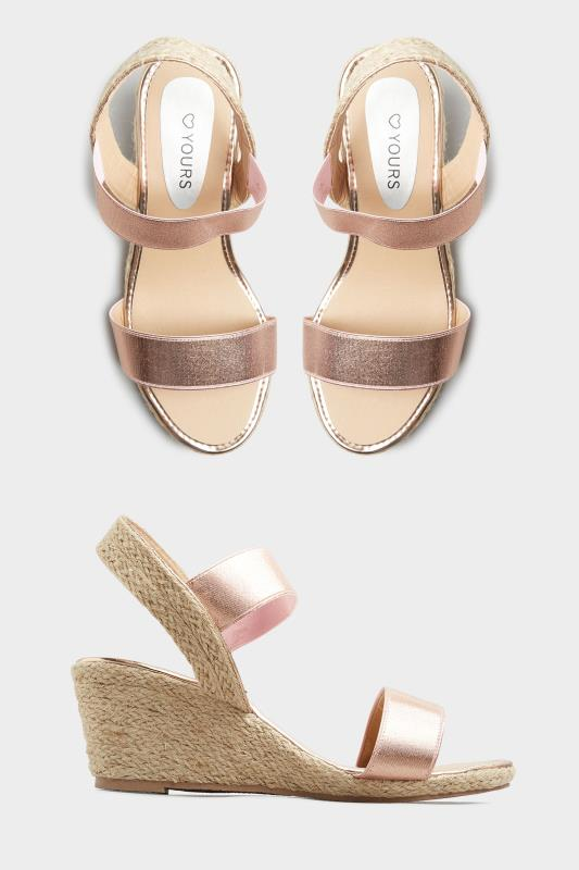 Rose Gold Espadrille Wedge Sandals In Wide Fit