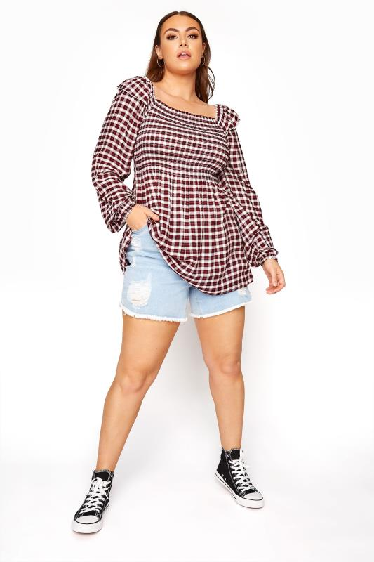 LIMITED COLLECTION Red Check Shirred Milkmaid Top