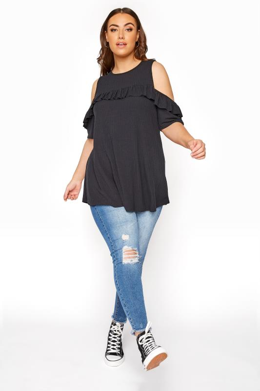 LIMITED COLLECTION Black Cold Shoulder Ribbed Swing Top_B.jpg