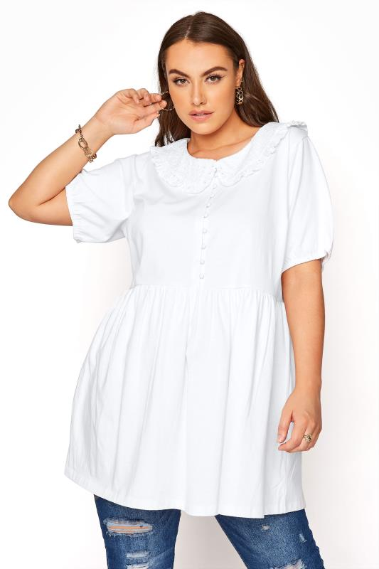 Plus Size  LIMITED COLLECTION White Smock Collared Top