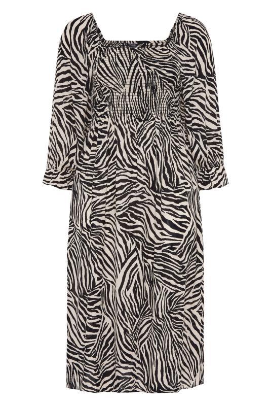 YOURS LONDON Black Zebra Print Shirred Front Midaxi Dress_F.jpg