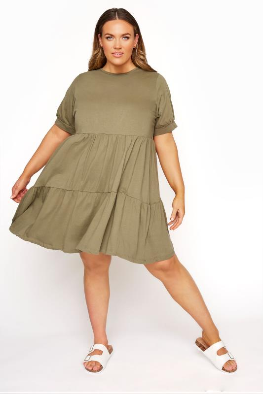 Plus Size Casual Dresses LIMITED COLLECTION Khaki Tiered Cotton Smock Dress