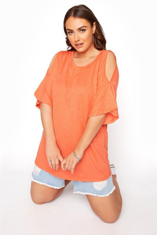 Plus Size  Bright Coral Cold Shoulder T-Shirt