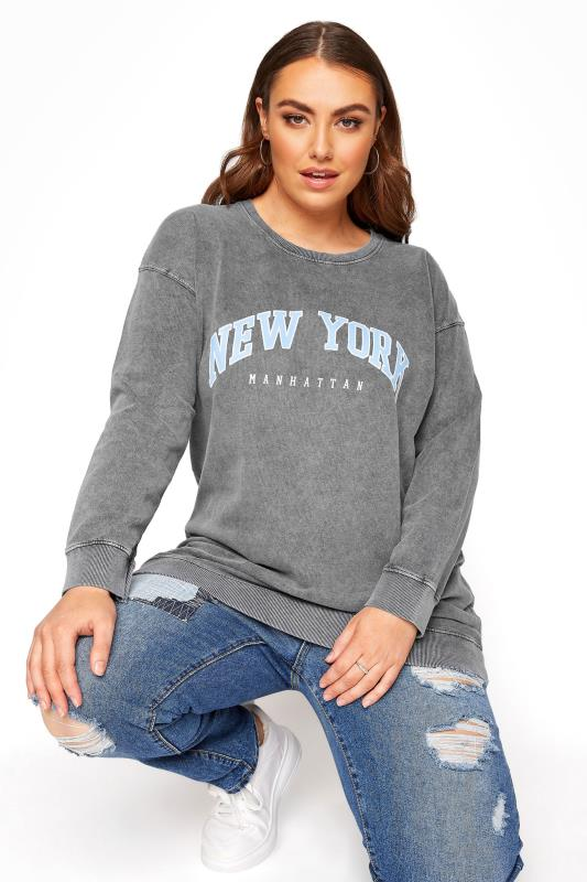 Grey Acid Wash 'New York' Slogan Sweatshirt