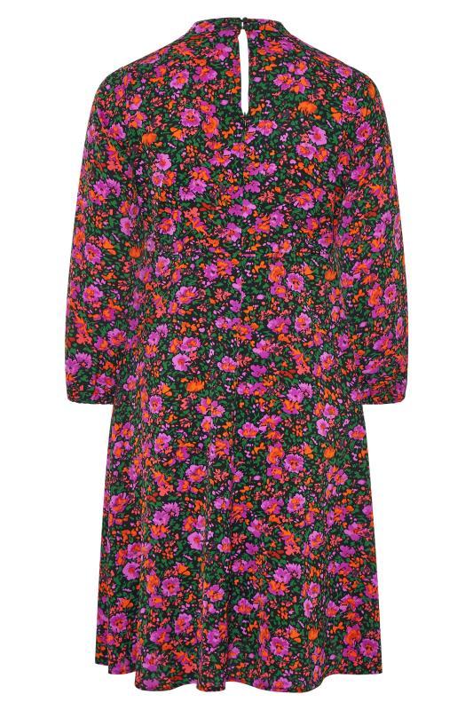 YOURS LONDON Pink Floral Turtleneck Skater Midi Dress