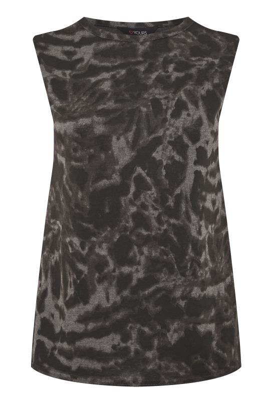 Black Tie Dye Shoulder Pad Sleeveless Top