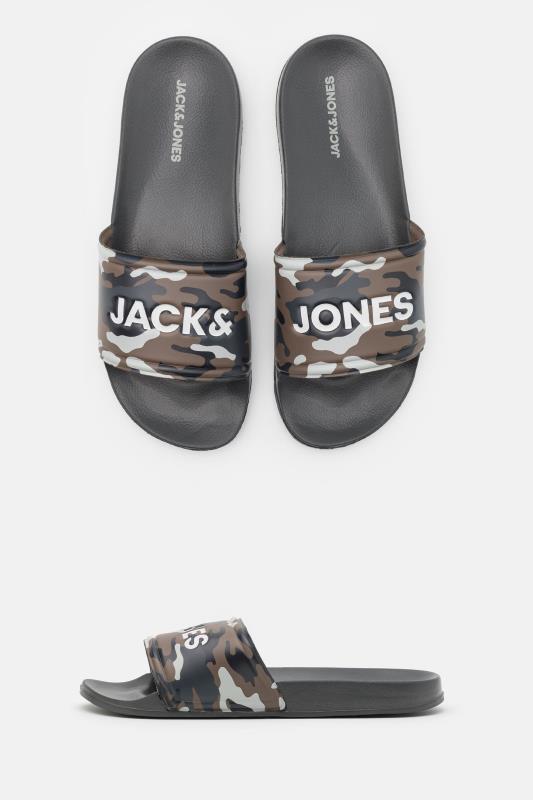 Men's  JACK & JONES Navy Camo Sliders