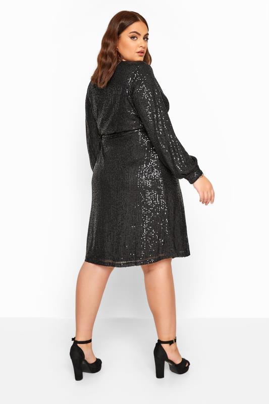 CHI CHI Black Sequin Wrap Dress