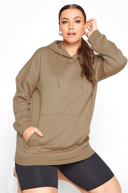 Plus Size  LIMITED COLLECTION Brown Cotton Jersey Hoodie