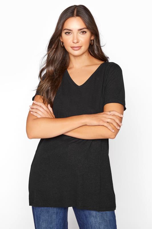 LTS Black Linen Blend V-Neck T-Shirt