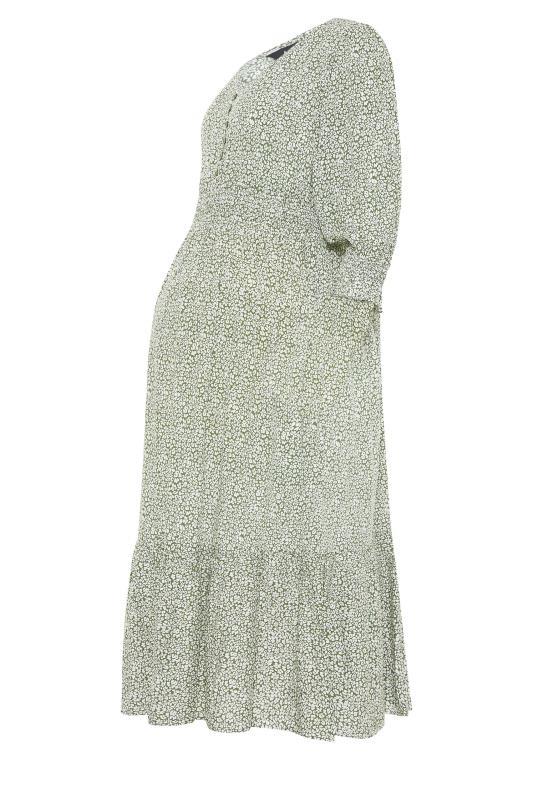LTS Maternity Sage Green Ditsy V-Neck Button Tiered Midi Dress_f.jpg