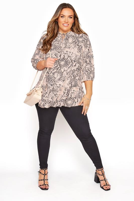 YOURS LONDON Stone Animal Print Frill Hem Blouse