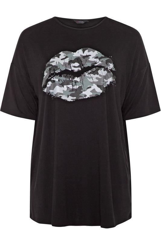 Black Oversized Camo Lips Print Top