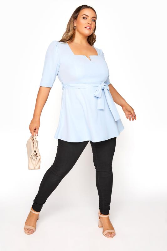 YOURS LONDON Light Blue Notch Neck Puff Sleeve Peplum Top