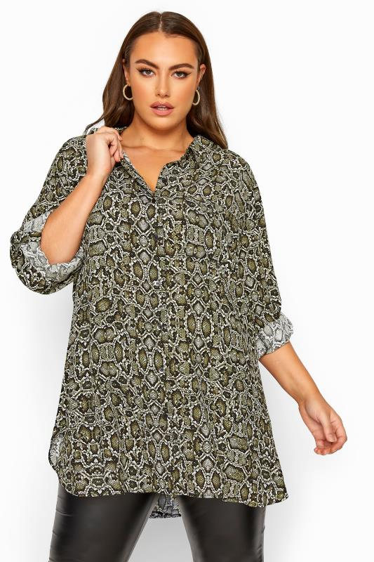 Plus Size Shirts LIMITED COLLECTION Green Snake Print Boyfriend Shirt