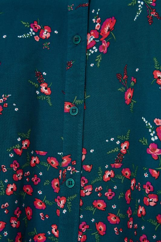 YOURS LONDON Green Floral Button Through Swing Blouse_S.jpg