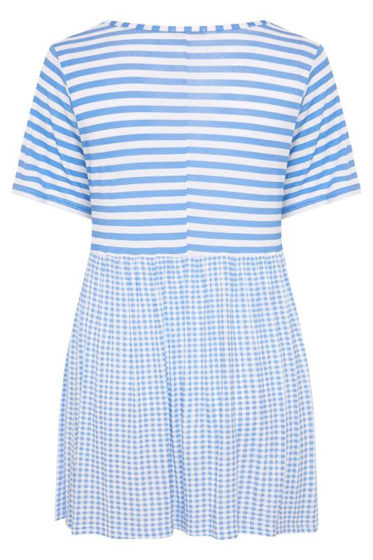 LIMITED COLLECTION Pale Blue Gingham Stripe Mix Top_BK.jpg