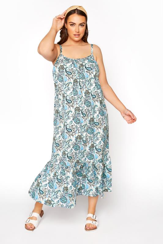 Blue Paisley Print Strappy Beach Dress