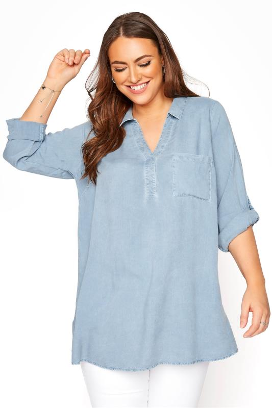 Grande Taille Chambray Blue Acid Wash Overhead Shirt