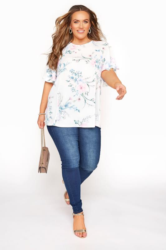 YOURS LONDON White Floral Blouse