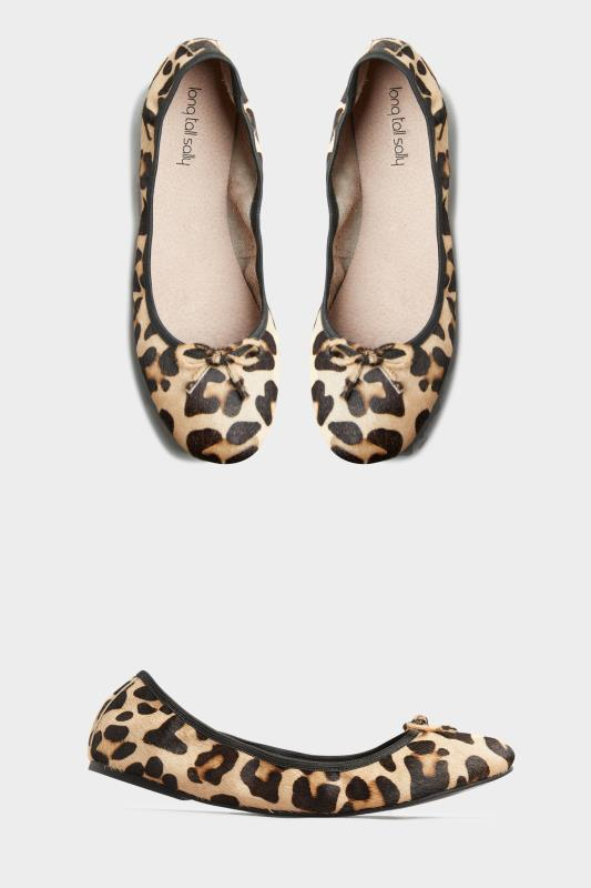Tall  Beige Leopard Print Supersoft Leather Ballerina