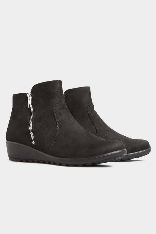 Black Vegan Suede Wedge Heel Ankle Boots In Extra Wide Fit_B.jpg