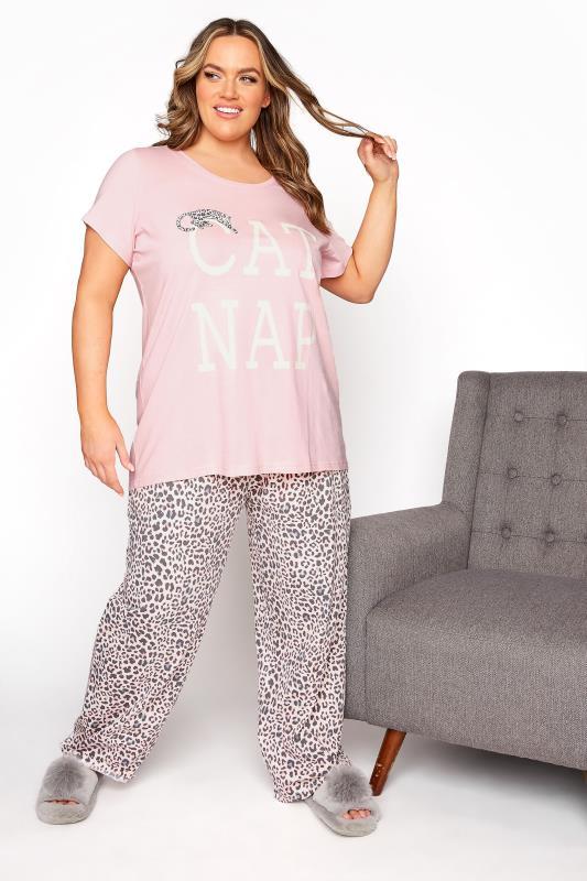 Plus Size  Pink 'Cat Nap' Pyjama Set