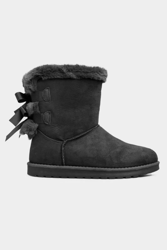 Black Vegan Suede Bow Detail Boots In Extra Wide Fit
