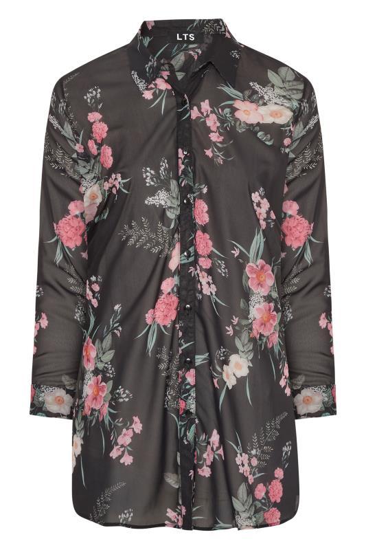LTS Black Mixed Floral Longline Chiffon Shirt_F.jpg