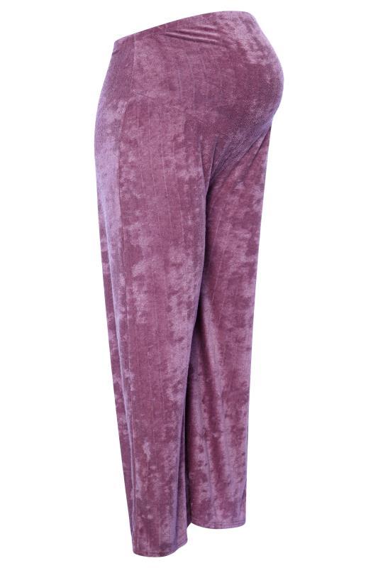 BUMP IT UP MATERNITY Purple Flannel Towelling Co-ord Wide Leg Trousers_F.jpg