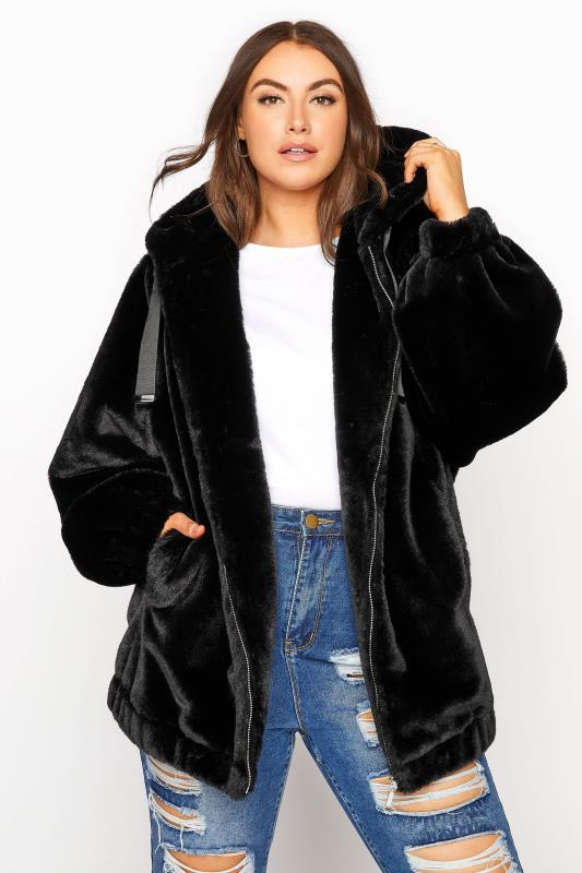 Grande Taille Black Faux Fur Oversized Jacket