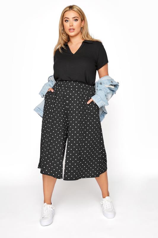 Plus Size  Black Polka Dot Print Culottes